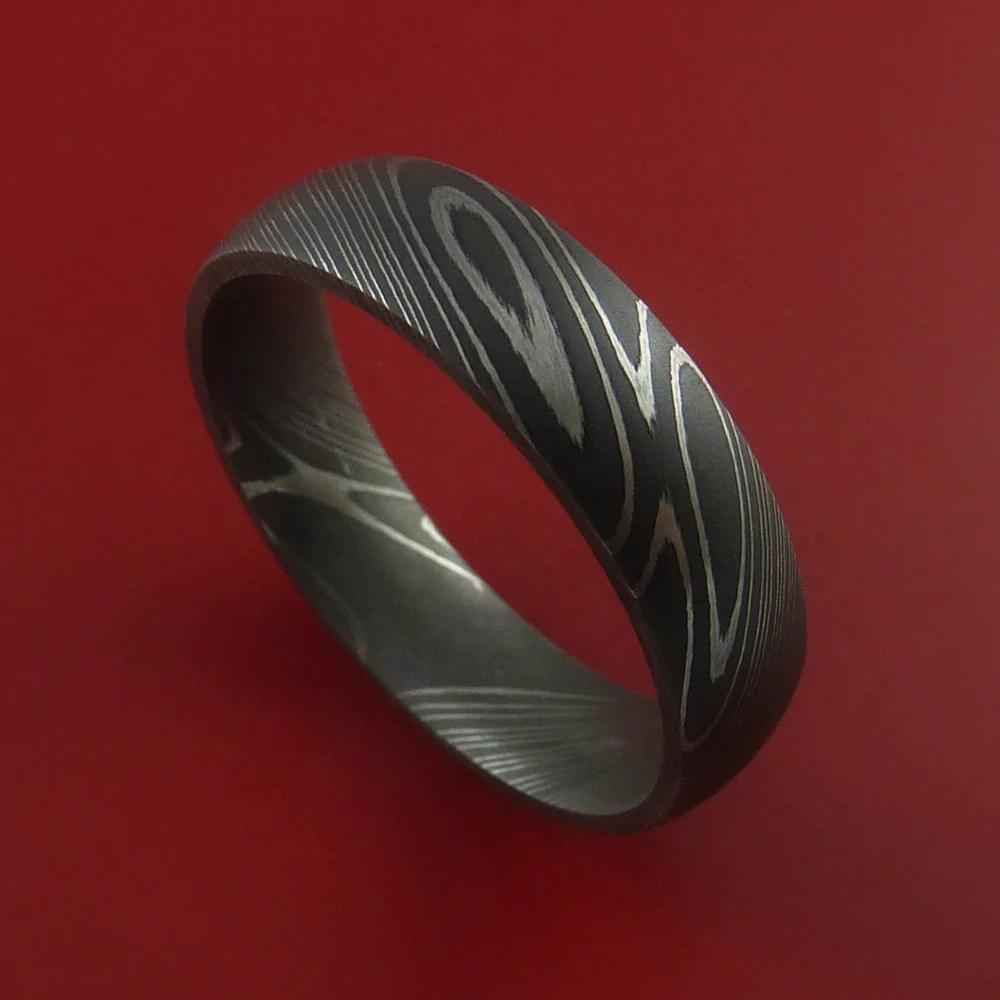 Damascus Steel Ring Acid Finish Genuine Craftsmanship