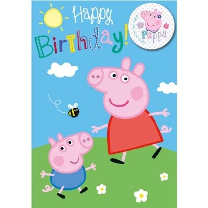 Buy Official Peppa Pig Happy Birthday Card Badge Danilo Promotions