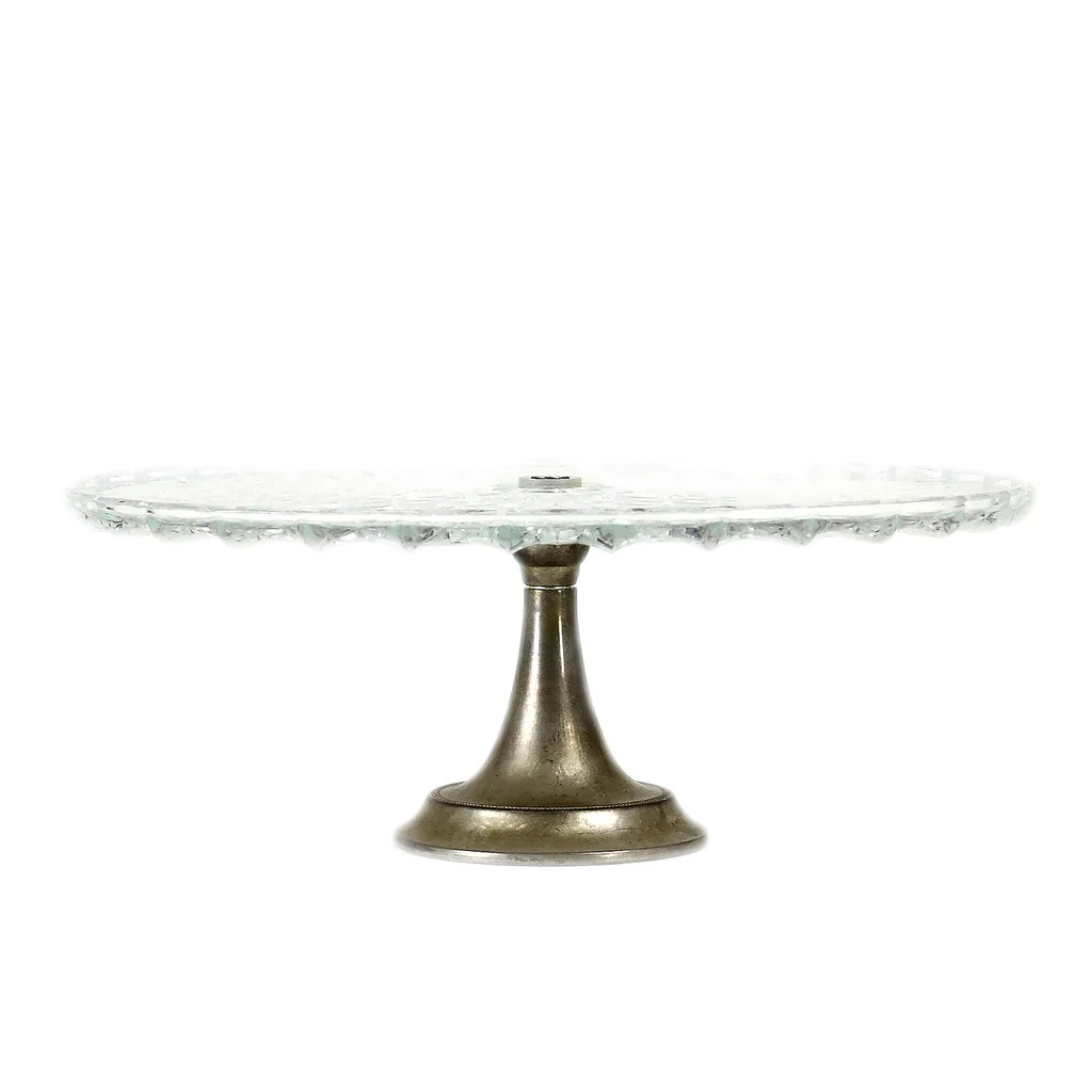 Art Deco 1940s Glass Cake Stand With Silver Plate Base