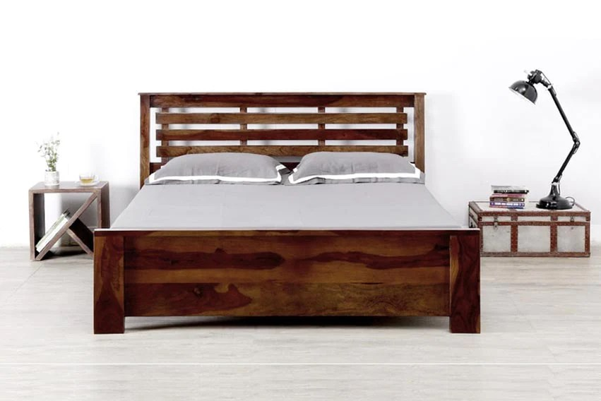 solid wood king size bed teak finish by furniselan