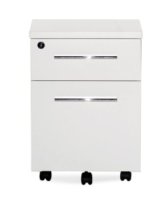 White Lacquer Chrome Locking Mobile File Cabinet Assembled