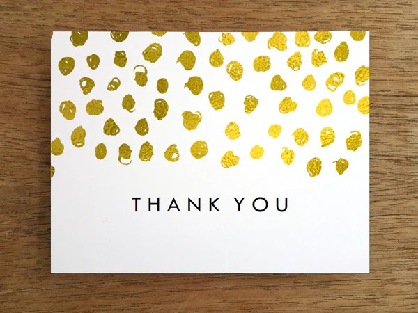 Printable Thank You Card Gold Dots Empapers