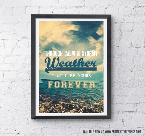 Through calm & stormy weather print