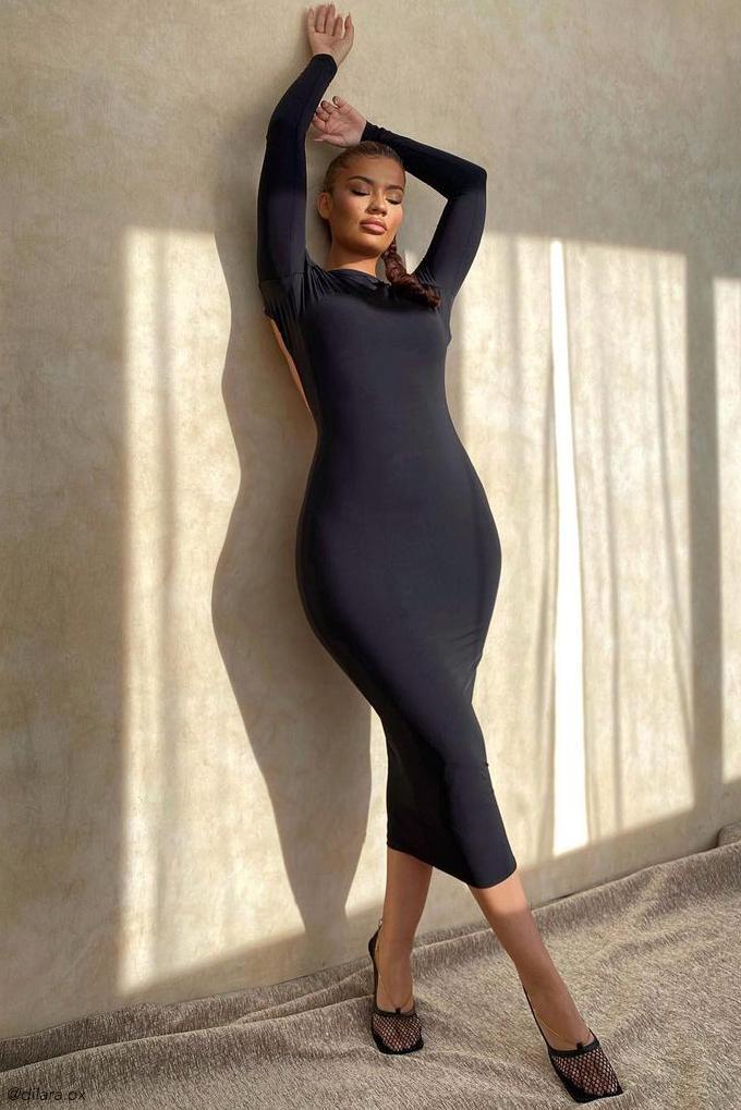 Cami Backless Long Sleeve Midi Dress Black Meshki