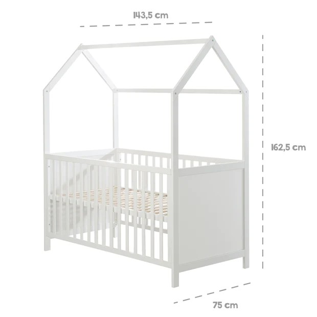 lit cabane 70 x 140 cm certifie fsc lit bebe combine blanc reglabl roba