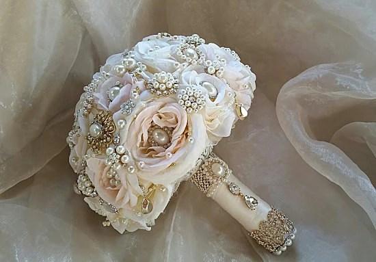 Peach Amp Blush Vintage Bridal Brooch Bouquet Custom Made