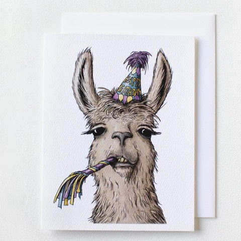 Llama Birthday Card Serious Creatures