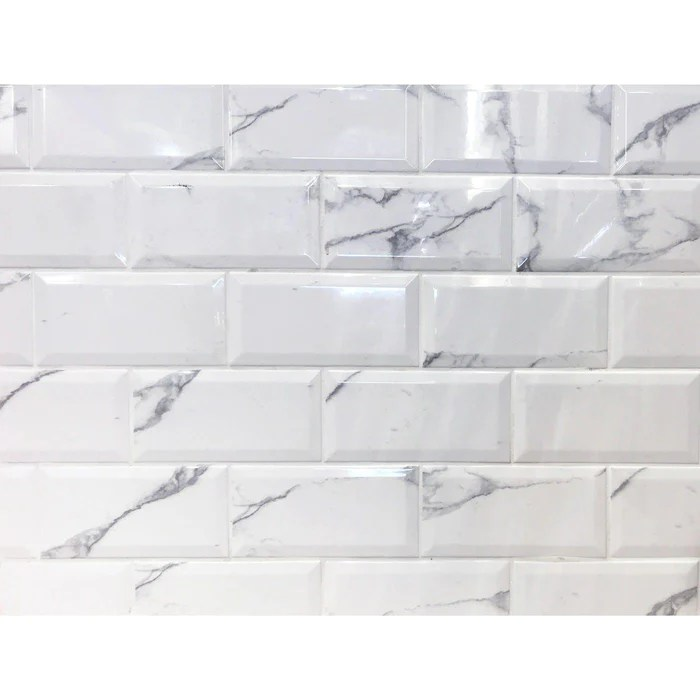 10x20cm metro carrara white bevelled brick wall tile