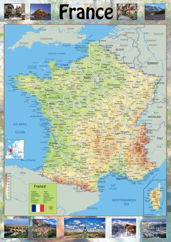 Illustrated Map of France     Tiger Moon Illustrated Map of France