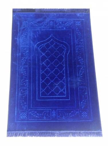 tapis de priere velours bleu roi