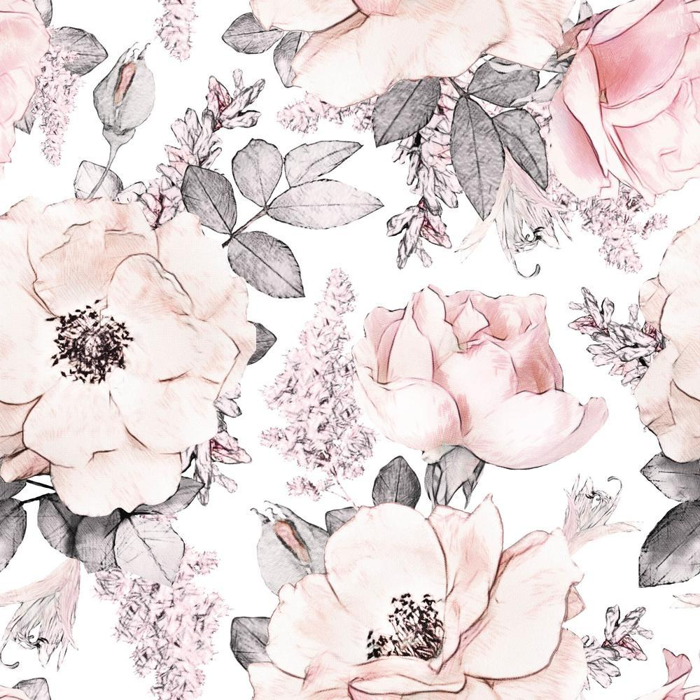 Pippa Rose Self Adhesive Wallpaper Dusty Floral Wallpaper Project Nursery