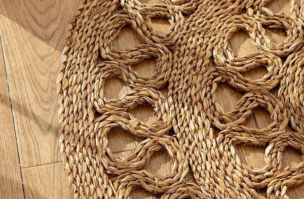 tapis rond rotin