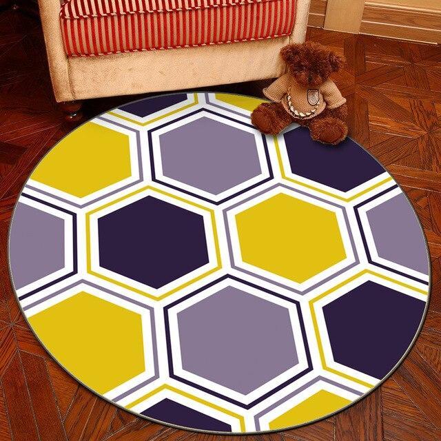tapis rond geometrie coloree