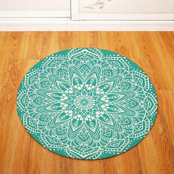 tapis rond bleu turquoise