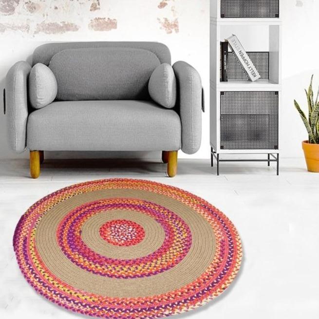 tapis rond coton tresse