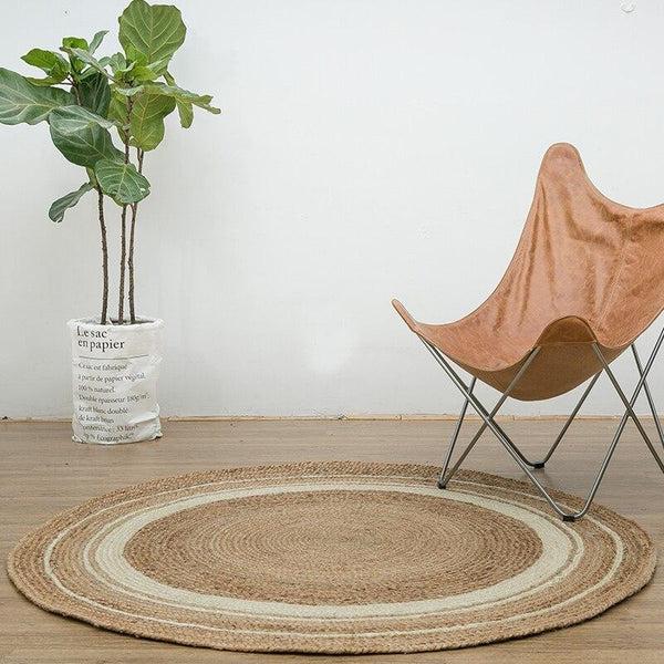 tapis rond jute a motif
