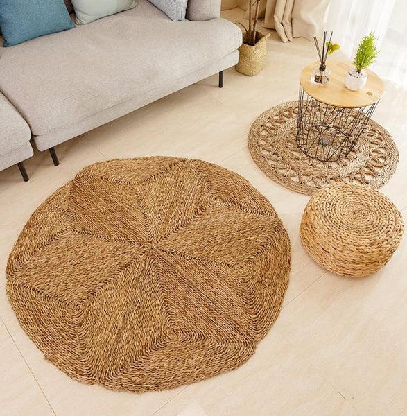 tapis rond jute design atypique