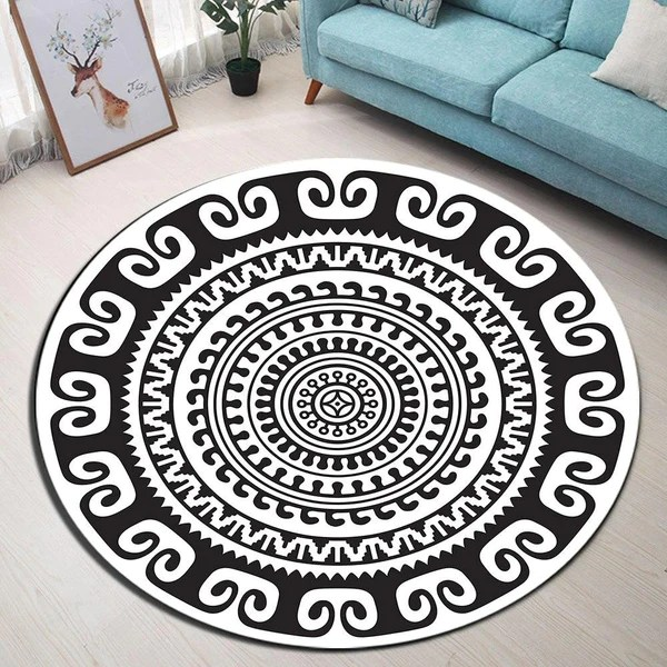 tapis rond mandala noir et blanc