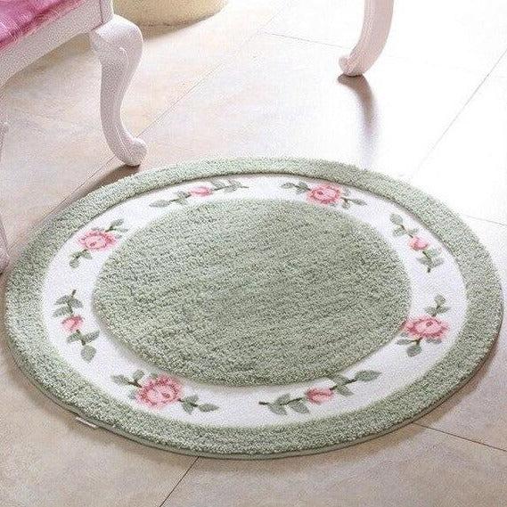 tapis rond vert menthe