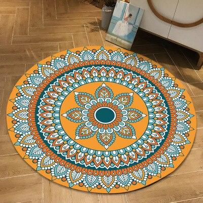tapis rond mandala fleur orange