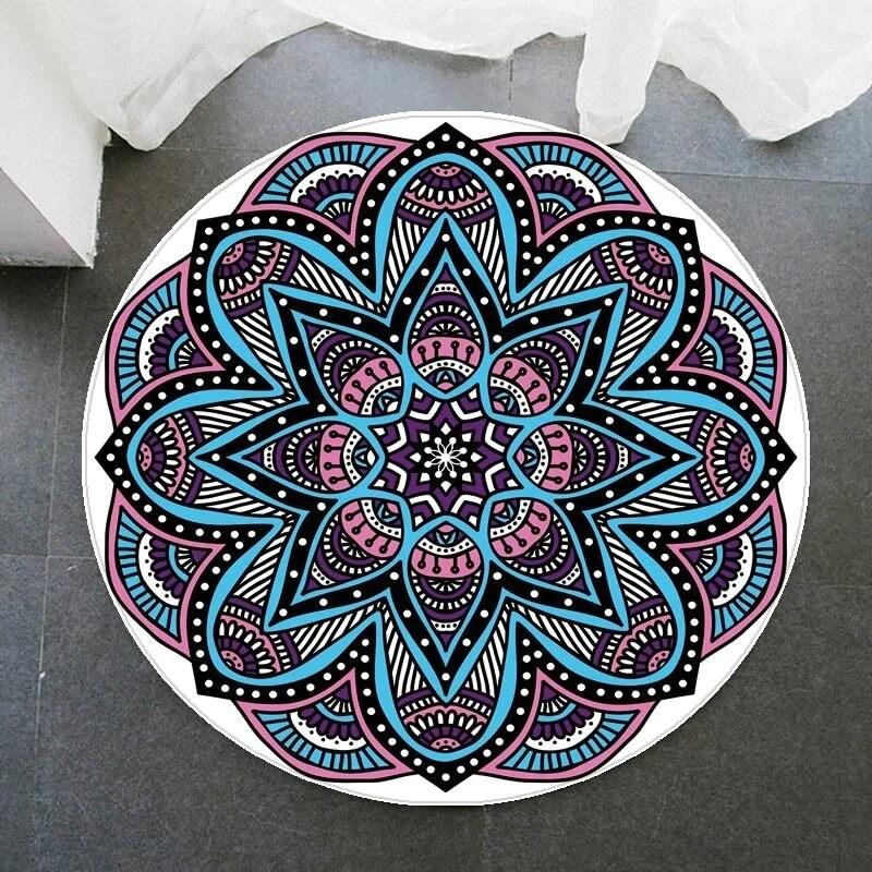 tapis rond mandala avec fleur