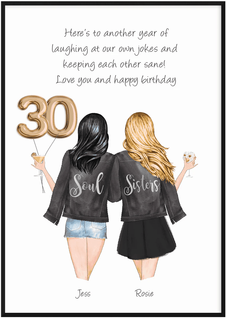 Personalised 30th Birthday Print Best Friend Gifts Printy Printy Limited