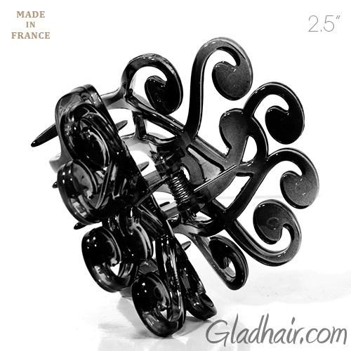 French Fancy Flat Black Plastic Hair Clip
