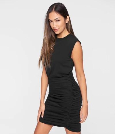 Muscle Sleeve Shirred Dress
