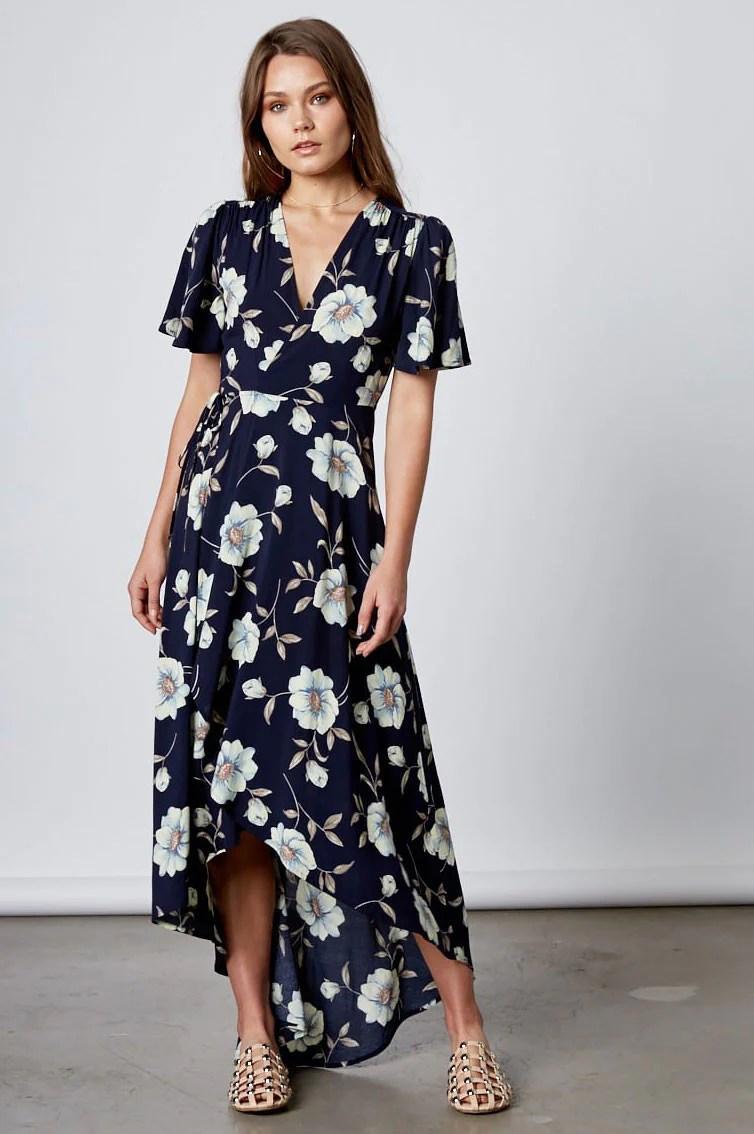 Blue Floral Dress With Flutter Sleeves