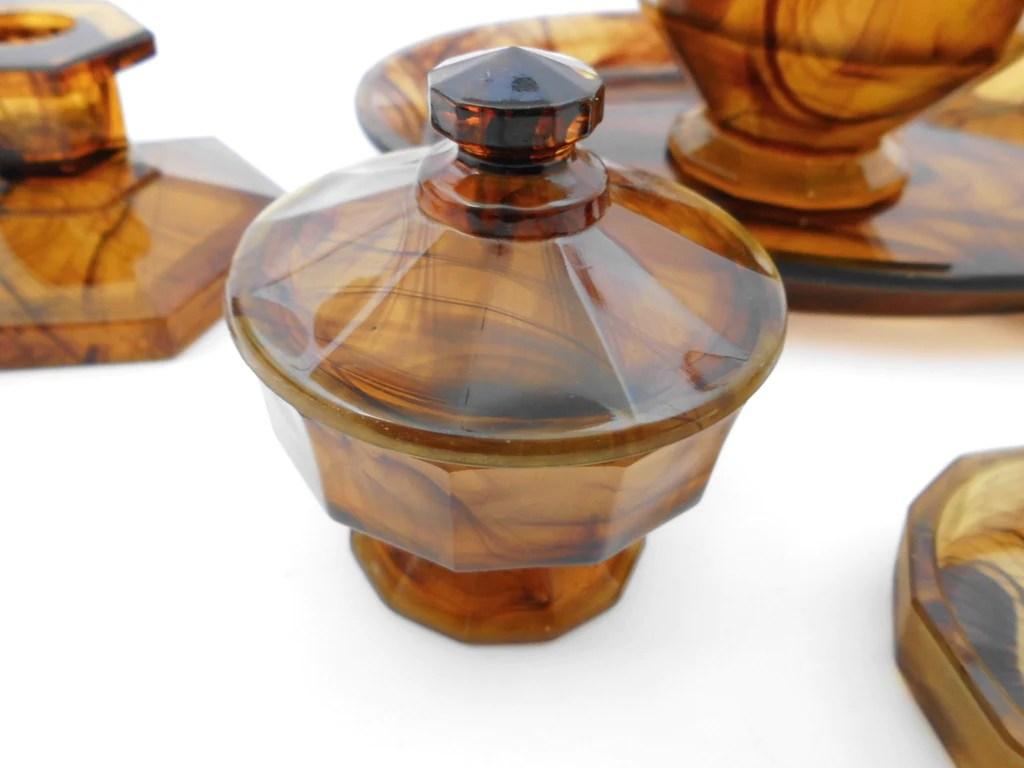 Art Deco Vanity Dressing Table Set In Amber Cloud Pressed