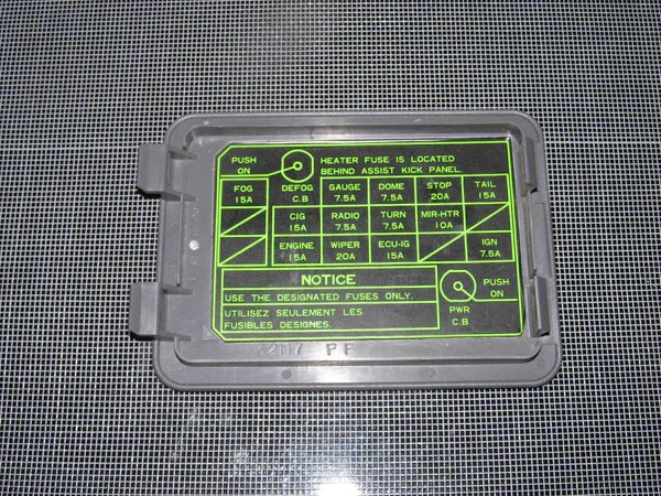 86 87 88 Toyota Supra OEM Fuse Box Cover – Autopartone