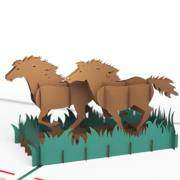 Horses Running Pop Up Birthday Card Lovepop