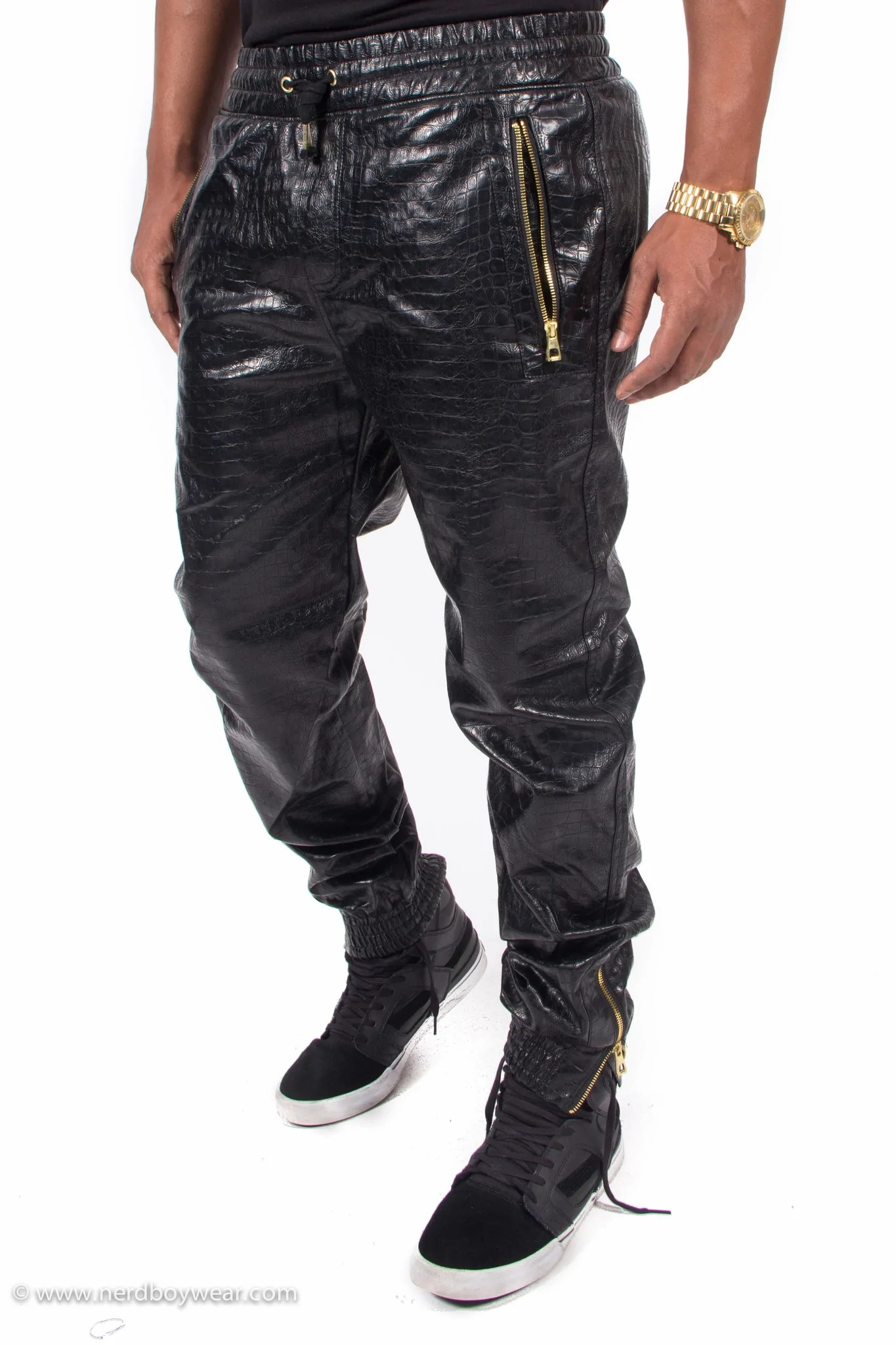 Faux Leather Joggers With Zippers