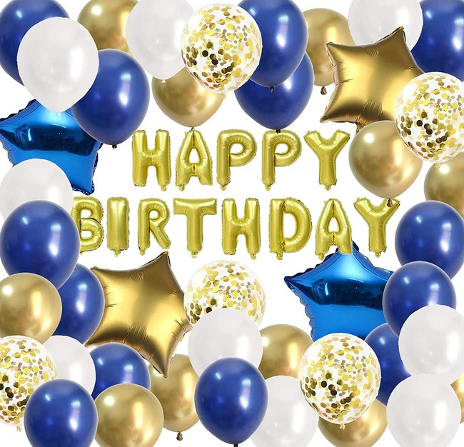 Happy Birthday Blue Gold Party Balloons For Men Boys B Day Decor Blue Theme My Party