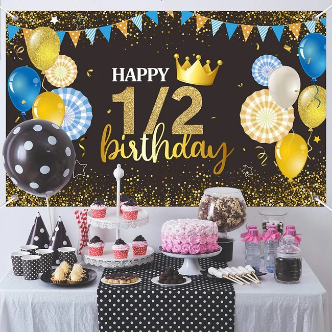 1 2 Birthday Party Backdrop For Photography Banner Kids Event Cake Tab Theme My Party