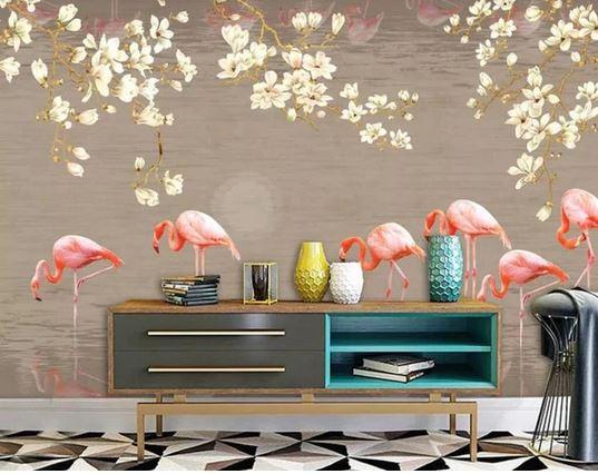 papier peint flamant rose 4 murs saison