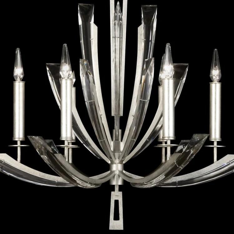 fine art lamps vol de cristal 798040st silver leaf 6 light chandelier