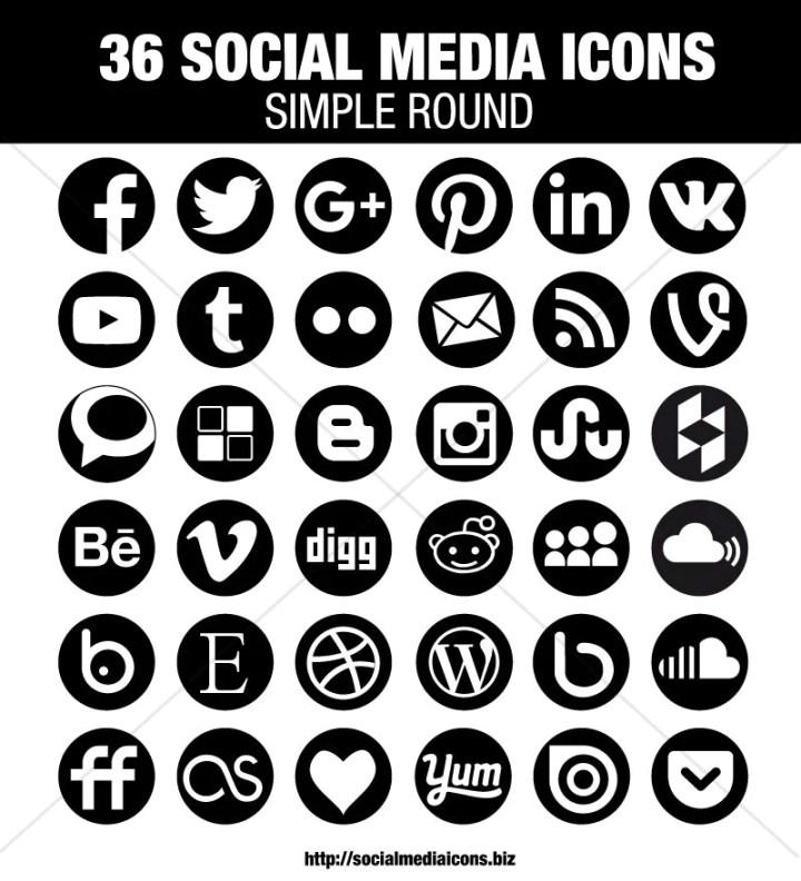 36 Circle Social Media Icons Black