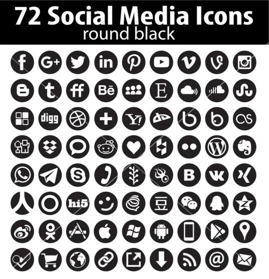 Vector circle social media icons new set