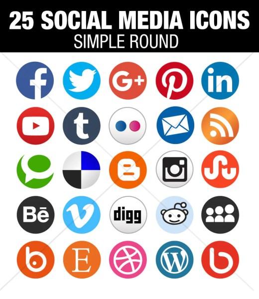 circle flat Social media icons