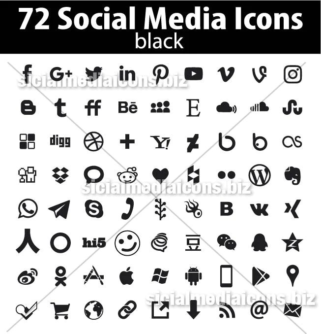 Flat Black Social Media Icons Collection