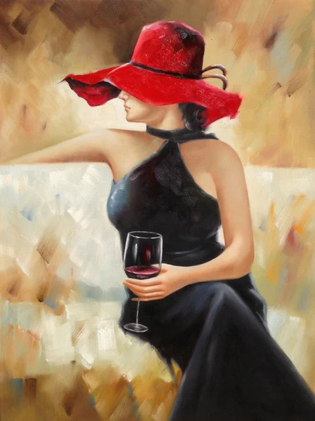 Lady In Black Holding Wine Glass Katy Furniture