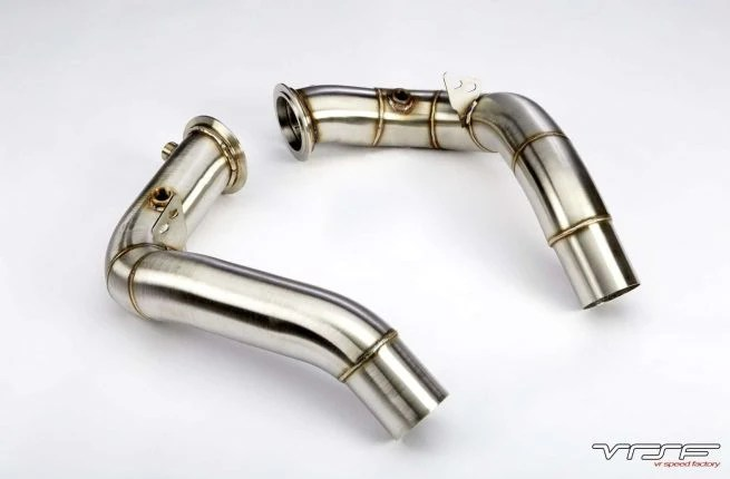 vrsf 3 stainless steel race downpipes 2011 2018 bmw m5 m6 s63 toofastmississauga