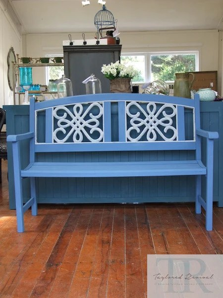 Becky Hand Painted Blue Wooden Garden Bench With White