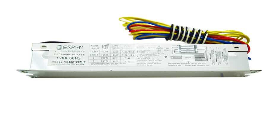 espen 3 or 4 lamp electronic ballast model ve432120mip