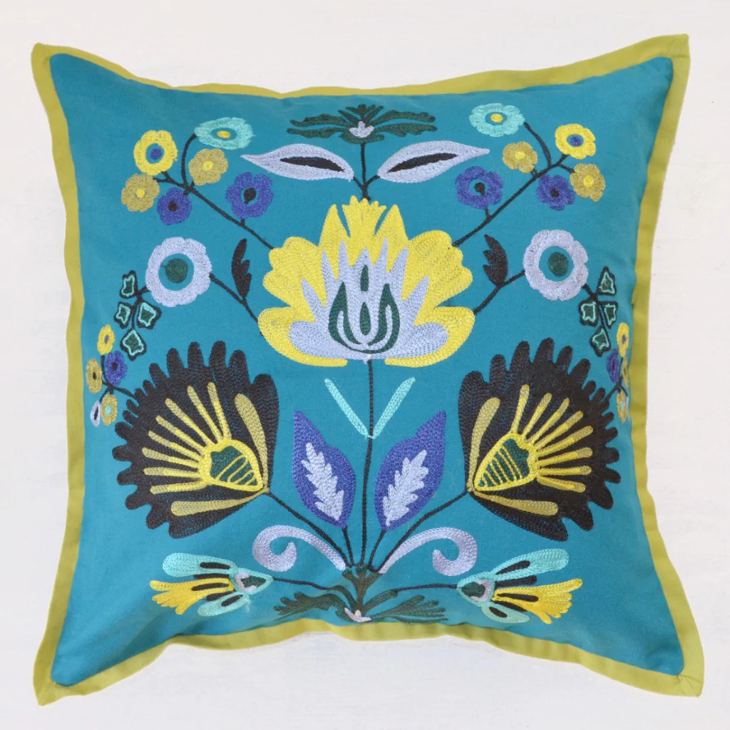 crewel embroidery throw pillow
