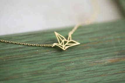 origami crane necklace