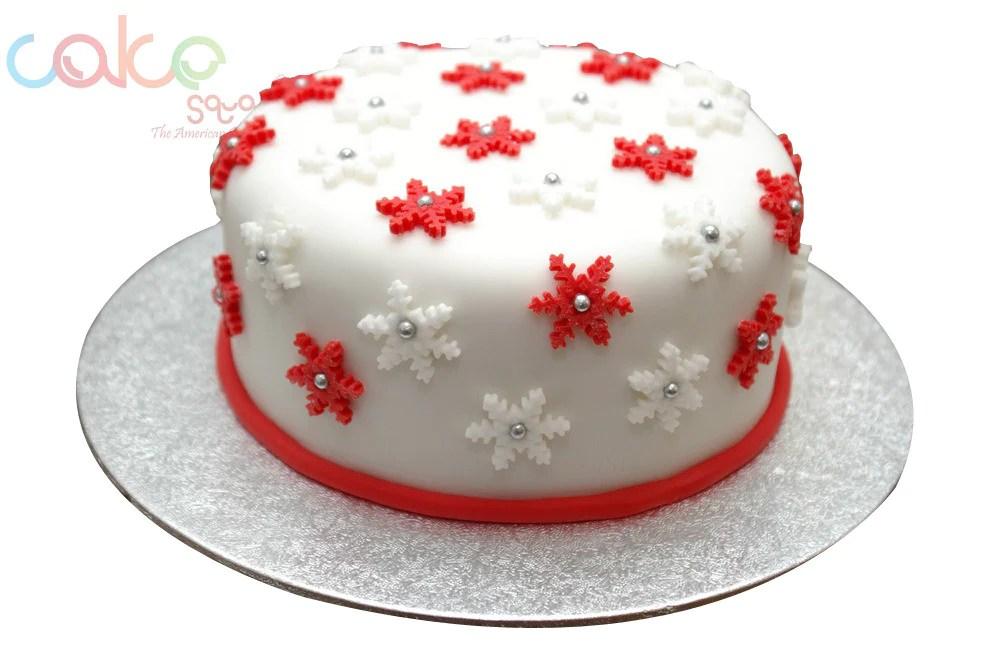 Dcc120 Red And White Christmas Cake Cake Square Chennai