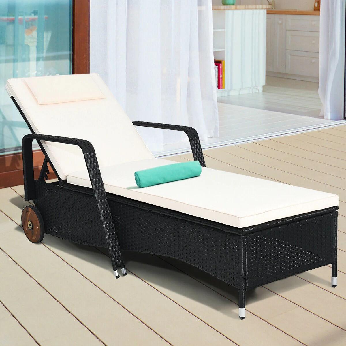adjustable reclining patio rattan
