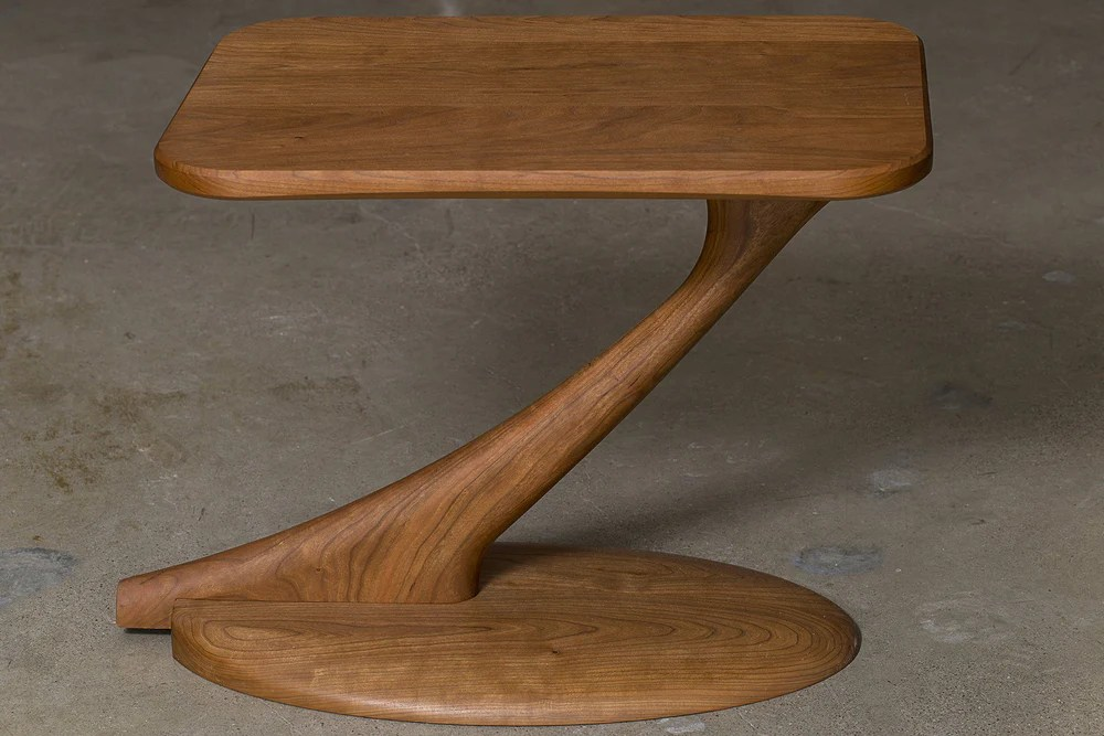 cantilever side table solid wood handmade